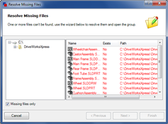 Resolve Missing Files Dialog
